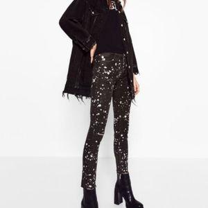 Zara Paint Splatter Black Skinny Raw Hem Jeans 10